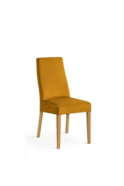 Scaun tapițat galben-miere/stejar Vanila