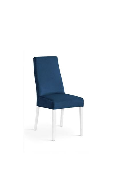 Scaun tapițat albastru/alb Vanila