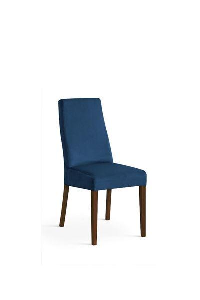 Scaun tapițat albastru/nuc Vanila