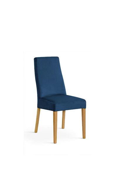 Scaun tapițat albastru/stejar Vanila
