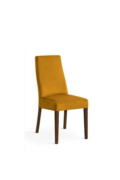 Scaun tapițat galben-miere/nuc Vanila