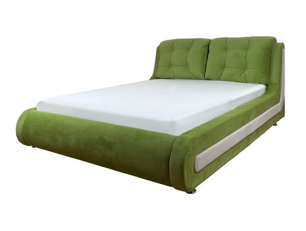 Pat tapițat 160 x 200 cm verde deschis/alb Hazel
