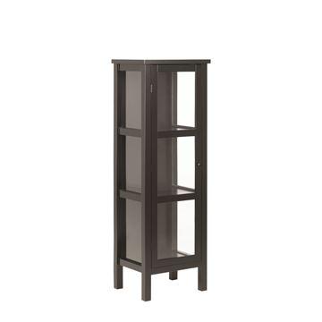 Vitrină 1 ușă sticlă și lemn masiv negru Eton