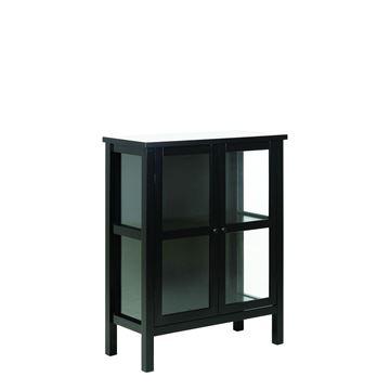 Vitrină mică 2 uși sticlă și lemn masiv negru Eton