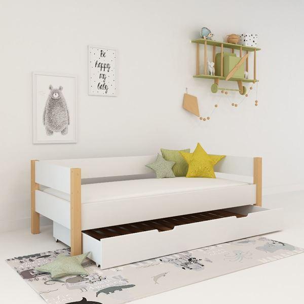 Pat copii 90 x 200 cm cu sertar alb Lolita