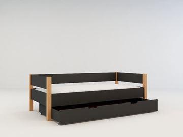 Pat copii 90 x 200 cm cu sertar gri antracit Lolita