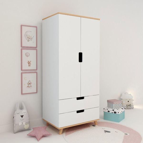 Dulap cu 2 uși și 2 sertare alb Lolita