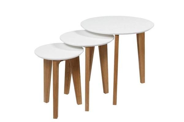 Set 3 măsuțe cafea rotunde stejar/alb Abin
