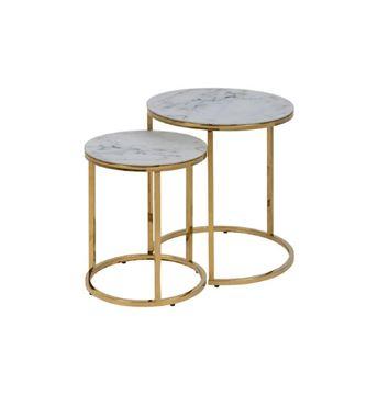 Set 2 măsuțe cafea rotunde marmură/auriu Alisma