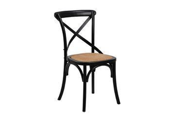 Scaun lemn masiv ulm, șezut ratan, negru, Eileen