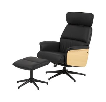 Fotoliu recliner cu taburet negru Alura