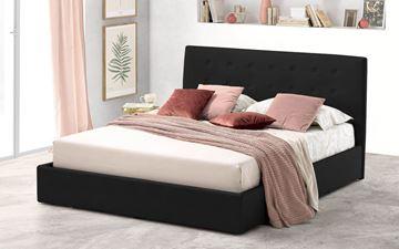 Pat tapițat cu somieră rabatabilă 120 x 200 cm textil jungle negru Ambra